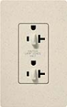 Lutron SCR-20-DDTR-LS Claro Satin Tamper Resistant 20A Duplex Receptacle for Dimming Use in Limestone