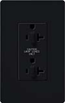 Lutron SCR-20-DDTR-MN Claro Satin Tamper Resistant 20A Duplex Receptacle for Dimming Use in Midnight