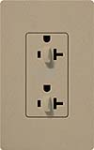 Lutron SCR-20-DDTR-MS Claro Satin Tamper Resistant 20A Duplex Receptacle for Dimming Use in Mocha Stone