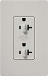 Lutron SCR-20-DDTR-PD Claro Satin Tamper Resistant 20A Duplex Receptacle for Dimming Use in Palladium