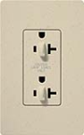 Lutron SCR-20-DDTR-ST Claro Satin Tamper Resistant 20A Duplex Receptacle for Dimming Use in Stone