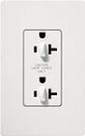 Lutron SCR-20-DDTR-SW Claro Satin Tamper Resistant 20A Duplex Receptacle for Dimming Use in Snow