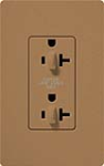 Lutron SCR-20-DDTR-TC Claro Satin Tamper Resistant 20A Duplex Receptacle for Dimming Use in Terracotta