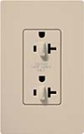 Lutron SCR-20-DDTR-TP Claro Satin Tamper Resistant 20A Duplex Receptacle for Dimming Use in Taupe