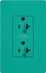 Lutron SCR-20-DDTR-TQ Claro Satin Tamper Resistant 20A Duplex Receptacle for Dimming Use in Turquoise