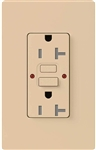 Lutron SCR-20-GFST-DS Claro Satin Self-Testing Tamper Resistant 20A GFCI Receptacle, in Desert Stone