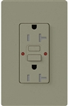 Lutron SCR-20-GFST-GB Claro Satin Self-Testing Tamper Resistant 20A GFCI Receptacle, in Greenbriar