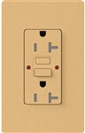 Lutron SCR-20-GFST-GS Claro Satin Self-Testing Tamper Resistant 20A GFCI Receptacle, in Goldstone