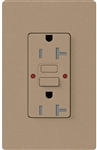 Lutron SCR-20-GFST-MS Claro Satin Self-Testing Tamper Resistant 20A GFCI Receptacle, in Mocha Stone