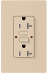 Lutron SCR-20-GFST-ST Claro Satin Self-Testing Tamper Resistant 20A GFCI Receptacle, in Stone