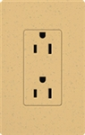 Lutron SCR-20-GS Claro Satin 20A Duplex Receptacle, Not Tamper Resistant, in Goldstone
