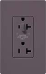 Lutron SCR-20-HDTR-PL Claro Satin Tamper Resistant 20A Split Duplex Receptacle Half for Dimming Use in Plum