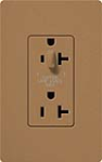 Lutron SCR-20-HDTR-TC Claro Satin Tamper Resistant 20A Split Duplex Receptacle Half for Dimming Use in Terracotta
