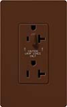Lutron SCR-20-HFDU-SI Claro Satin 20A Split Duplex Receptacle Half for Dimming Use in Sienna