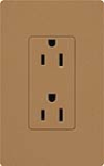 Lutron SCR-20-TC Claro Satin 20A Duplex Receptacle, Not Tamper Resistant, in Terracotta