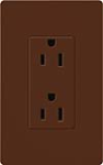 Lutron SCRS-15-TR-SI Claro Satin Tamper Resistant 15A Duplex Receptacle in Sienna