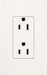 Lutron SCRS-15-TR-SW Claro Satin Tamper Resistant 15A Duplex Receptacle in Snow
