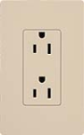 Lutron SCRS-15-TR-TP Claro Satin Tamper Resistant 15A Duplex Receptacle in Taupe