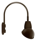 "RAB GN4LED13NAD11BWN 13W LED Gooseneck Dome Shade with Wall 20"" High, 19"" from Wall Goose Arm, 4000K (Neutral), Flood Reflector, 11"" Angled Dome Shade, Brown Finish"