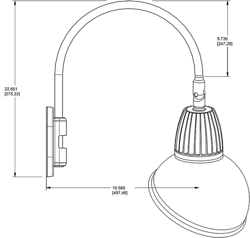 Rab Gn4led13nadyl 13w Led Gooseneck Dome Shade With Wall 20 High