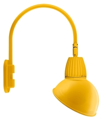 "RAB GN4LED26NADYL 26W LED Gooseneck Dome Shade with Wall 20"" High, 19"" from Wall Goose Arm, 4000K (Neutral), Flood Reflector, 15"" Angled Dome Shade, Yellow Finish"