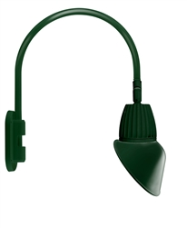 "RAB GN4LED26NRAC11G 26W LED Gooseneck Cone Shade with Wall 20"" High, 19"" from Wall Goose Arm, 4000K Color Temperature (Neutral), Rectangular Reflector, 11"" Angled Cone Shade, Hunter Green Finish"