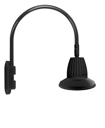 "RAB GN4LED26NST11B 26W LED Gooseneck Straight Shade with Wall 20"" High, 19"" from Wall Goose Arm, 4000K (Neutral), Flood Reflector, 11"" Straight Shade, Black Finish"