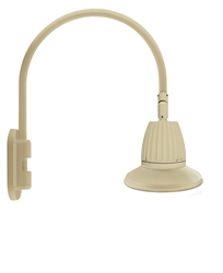 "RAB GN4LED26NST11I 26W LED Gooseneck Straight Shade with Wall 20"" High, 19"" from Wall Goose Arm, 4000K (Neutral), Flood Reflector, 11"" Straight Shade, Ivory Finish"