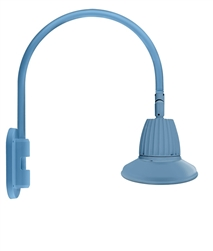"RAB GN4LED26NST11LB 26W LED Gooseneck Straight Shade with Wall 20"" High, 19"" from Wall Goose Arm, 4000K (Neutral), Flood Reflector, 11"" Straight Shade, Light Blue Finish"