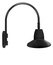 "RAB GN4LED26NSTB 26W LED Gooseneck Straight Shade with Wall 20"" High, 19"" from Wall Goose Arm, 4000K (Neutral), Flood Reflector, 15"" Straight Shade, Black Finish"