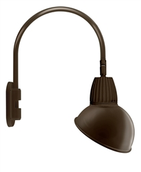 "RAB GN4LED26YADBWN 26W LED Gooseneck Dome Shade with Wall 20"" High, 19"" from Wall Goose Arm, 3000K (Warm), Flood Reflector, 15"" Angled Dome Shade, Brown Finish"
