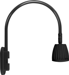 "RAB GN4LED26YB 26W LED Gooseneck No Shade with Wall 20"" High, 19"" from Wall Goose Arm, 3000K (Warm), Flood Reflector, Black Finish"