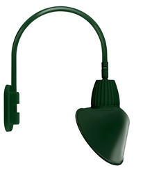 "RAB GN4LED26YRACG 26W LED Gooseneck Cone Shade with Wall 20"" High, 19"" from Wall Goose Arm, 3000K Color Temperature (Warm), Rectangular Reflector, 15"" Angled Cone Shade, Hunter Green Finish"