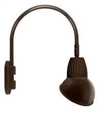 "RAB GN4LED26YRAD11BWN 26W LED Gooseneck Dome Shade with Wall 20"" High, 19"" from Wall Goose Arm, 3000K (Warm), Rectangular Reflector, 11"" Angled Dome Shade, Brown Finish"