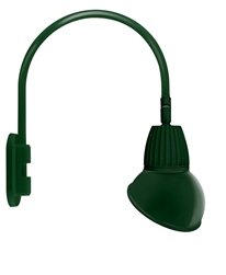 "RAB GN4LED26YRAD11G 26W LED Gooseneck Dome Shade with Wall 20"" High, 19"" from Wall Goose Arm, 3000K (Warm), Rectangular Reflector, 11"" Angled Dome Shade, Hunter Green Finish"