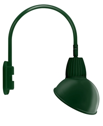 "RAB GN4LED26YRADG 26W LED Gooseneck Dome Shade with Wall 20"" High, 19"" from Wall Goose Arm, 3000K (Warm), Rectangular Reflector, 15"" Angled Dome Shade, Hunter Green Finish"