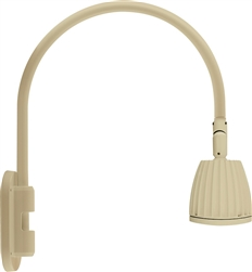 "RAB GN4LED26YRI 26W LED Gooseneck No Shade with Wall 20"" High, 19"" from Wall Goose Arm, 3000K (Warm), Rectangular Reflector, Ivory Finish"