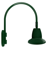"RAB GN4LED26YRST11G 26W LED Gooseneck Straight Shade with Wall 20"" High, 19"" from Wall Goose Arm, 3000K (Warm), Rectangular Reflector, 11"" Straight Shade, Hunter Green Finish"