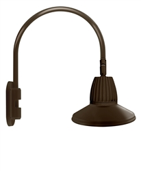 "RAB GN4LED26YRSTBWN 26W LED Gooseneck Straight Shade with Wall 20"" High, 19"" from Wall Goose Arm, 3000K (Warm), Rectangular Reflector, 15"" Straight Shade, Brown Finish"