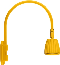 "RAB GN4LED26YRYL 26W LED Gooseneck No Shade with Wall 20"" High, 19"" from Wall Goose Arm, 3000K (Warm), Rectangular Reflector, Yellow Finish"