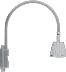 "RAB GN4LED26YS 26W LED Gooseneck No Shade with Wall 20"" High, 19"" from Wall Goose Arm, 3000K (Warm), Flood Reflector, Silver Finish"