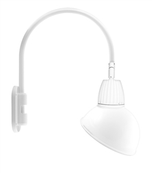 "RAB GN4LED26YSADW 26W LED Gooseneck Dome Shade with Wall 20"" High, 19"" from Wall Goose Arm, 3000K (Warm), Spot Reflector, 15"" Angled Dome Shade, White Finish"