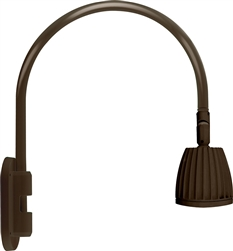 "RAB GN4LED26YSBWN 26W LED Gooseneck No Shade with Wall 20"" High, 19"" from Wall Goose Arm, 3000K (Warm), Spot Reflector, Brown Finish"