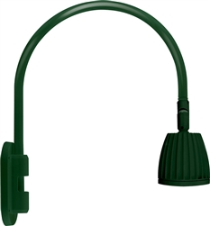 "RAB GN4LED26YSG 26W LED Gooseneck No Shade with Wall 20"" High, 19"" from Wall Goose Arm, 3000K (Warm), Spot Reflector, Hunter Green Finish"