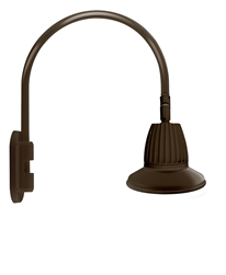 "RAB GN4LED26YSST11BWN 26W LED Gooseneck Straight Shade with Wall 20"" High, 19"" from Wall Goose Arm, 3000K (Warm), Spot Reflector, 11"" Straight Shade, Brown Finish"
