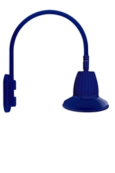 "RAB GN4LED26YST11BL 26W LED Gooseneck Straight Shade with Wall 20"" High, 19"" from Wall Goose Arm, 3000K (Warm), Flood Reflector, 11"" Straight Shade, Royal Blue Finish"