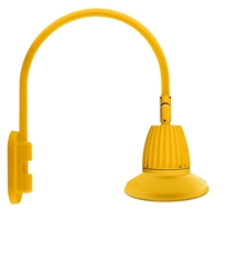 "RAB GN4LED26YST11YL 26W LED Gooseneck Straight Shade with Wall 20"" High, 19"" from Wall Goose Arm, 3000K (Warm), Flood Reflector, 11"" Straight Shade, Yellow Finish"