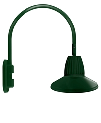 "RAB GN4LED26YSTG 26W LED Gooseneck Straight Shade with Wall 20"" High, 19"" from Wall Goose Arm, 3000K (Warm), Flood Reflector, 15"" Straight Shade, Hunter Green Finish"