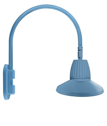 "RAB GN4LED26YSTLB 26W LED Gooseneck Straight Shade with Wall 20"" High, 19"" from Wall Goose Arm, 3000K (Warm), Flood Reflector, 15"" Straight Shade, Light Blue Finish"