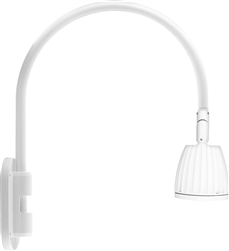 "RAB GN4LED26YW 26W LED Gooseneck No Shade with Wall 20"" High, 19"" from Wall Goose Arm, 3000K (Warm), Flood Reflector, White Finish"